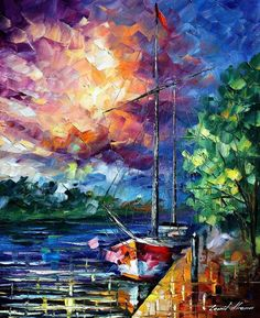 BY THE DOCK -  by Leonid Afremov