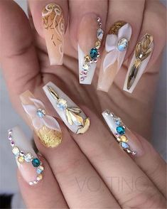 35 Awesome Coffin Nail Designs You'll Flip For in Awesome Coffin Nails Designs You'll Flip For in 2019 img 13 Honeycomb Nail Art View We loved this nail art model, which can be similar to honeycomb. Ongles Bling Bling, Bling Nails, 3d Nails, Pastel Nails, Polish Nails, Rhinestone Nails, Coffin Nails Matte, Best Acrylic Nails, Fabulous Nails