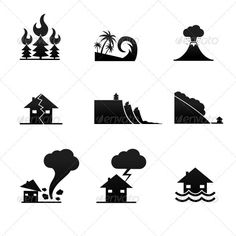 Natural Disaster Icons #GraphicRiver Set of 9 simple black and white natural disaster icons on white background. Set contains icons of tornado, volcano, avalanche, flood, wildfire, tsunami, earthquake, landslide, thunderstorm. Elements are on separate layers, for easier extraction. EPS 8 file. Created: 9October12 GraphicsFilesIncluded: JPGImage #VectorEPS Layered: Yes MinimumAdobeCSVersion: CS Tags: EnvironmentalDamage #TidalWave #accident #avalanche #cloud #destruction #earthquake…