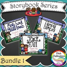 Storybook Series - Mary Had a Little Lamb, Jack and Jill, and Humpty Dumpty! These are sooooo cute. They come with the sheet music, a little history and a great storybook to sing along with! There are several in the series! #elmused #kodaly #orff #elementary music education #musiceducation
