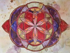 morning meditation watercolors | Red & Purple Mandala, watercolor, 18×24