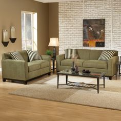 sage green couch, love the flooring too