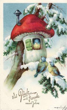 Christmas Bird, Christmas Scenes, Christmas Greetings, Christmas Crafts, Illustrations Vintage, Illustrations And Posters, Vintage Greeting Cards, Vintage Postcards, Christmas Embroidery Patterns