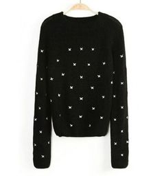 New Arrival Embroidering Butterfly Decoration Black Pullovers Sweater