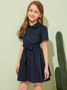 To find out about the Girls Button Up Flap Pocket Belted Shirt Dress at SHEIN, part of our latest Girls Dresses ready to shop online today! Teenage Girl Outfits, Dresses Kids Girl, Cute Girl Outfits, Kids Outfits Girls, Cute Dresses, Baby Dress Design, Frock Design, Kids Dress Patterns, Tween Mode