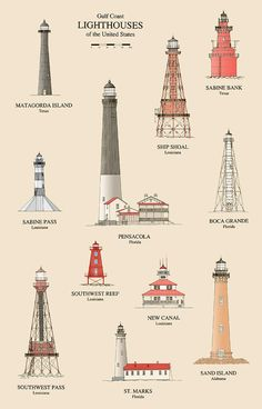 Lighthouses Of The Gulf Coast-Jerry McElroy Lighthouse Pictures, Lighthouse Art, Lighthouse Keeper, Minecraft Lighthouse, Lighthouse Drawing, Sand Island, Beacon Of Light, Am Meer, Illustration