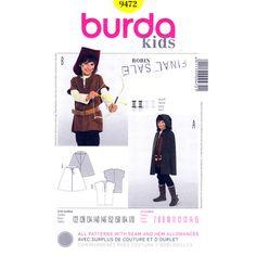 Kids Robin Hood Costume Pattern Burda 9472 Hooded Cape or Tunic Halloween Size 7 to 15