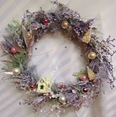 Vintage-Inspired-Shimmering-Christmas-Wreath-Silver-and-Pastel-with-Putz-House