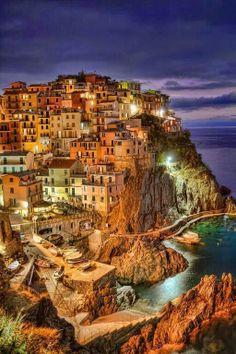 Manrola by Night, Cique Terre,Liguria, Italy