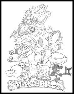 Super Smash Bros Coloring Pages Sketch Page