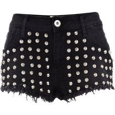 River Island Black studded denim shorts (64 BRL) ❤ liked on Polyvore featuring shorts, bottoms, pants, short, jeans, sexy shorts, hot jean shorts, sexy denim shorts, sexy jean shorts and denim shorts