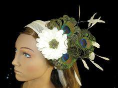 Burlesque belly dance PEACOCK FEATHER FASCINATOR headpiece - tribal fusion Vintage fairy Fantasy reenactment sca Renaissance hair jewelry. €32.00, via Etsy.