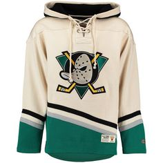 Men's Anaheim Ducks Old Time Hockey Natural Lacer Heavyweight Pullover Hoodie