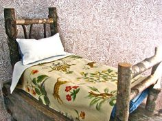 Wooden Doll Bed-- Rustic Twig Furniture -- Waldorf Inspired