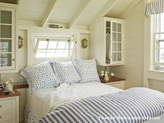 Love the built-ins! Seaside Cottage Bedroom DIY Closets Content in a Cottage Cottage Shabby Chic, Beach Cottage Style, Beach House, Nantucket Cottage, Coastal Cottage, Nantucket Style, Yellow Cottage, Home Interior, Interior Design