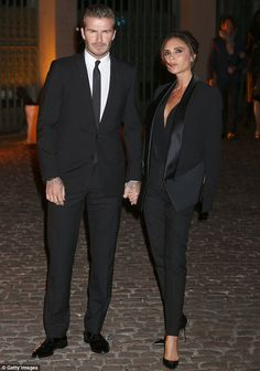 David and Victoria Beckham.. teamed pieces from her own autumn/winter 2013 collection with Manolo Blahnik heels.. Global Fund and BFC Party.. LFW..