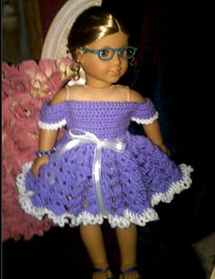 Ravelry: American Girl or Inch Doll Off Shoulder Party Dress Crochet Pattern pattern by Danielle Bonacquisti American Doll Clothes, Ag Doll Clothes, Doll Clothes Patterns, American Dolls, Doll Patterns, Dress Patterns, Crochet Doll Dress, Crochet Doll Clothes, Crochet Doll Pattern