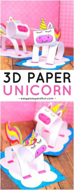 3D Construction Paper Unicorn Craft for Kids. A super fun paper craft idea for kids to make. #papercraftsforkids #craftsforkids #unicorncraftsforkids #artandcraftideasforkids