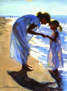 """""""Beach Treasures"""" by Jeffrey T. Larson CRAZY- I know Jeff and the people in the painting! Figure Painting, Painting & Drawing, Art And Illustration, Beach Art, Beautiful Paintings, Oeuvre D'art, Love Art, Painting Inspiration, Amazing Art"""