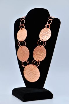 Copper Necklace Handmade Textured Round