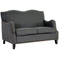"51"" W Birchwood & gray fabric sofa, $680."