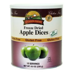 Augason Farms Gluten Free Freeze Dried Apple Dices - 30 year shelf, delicious in apple pies!
