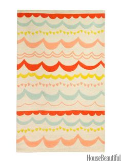 Garland rug from DwellStudio. Thinking of painting this on a drop cloth and hanging on wall as a 'headboard' or using as a floor cover/rug.