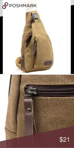 Men's Canvas Outdoor Travel Shoulder Backpack Backpack  Item Type: Shoulder/Messenger Bag Gender: Men Main Material: Canvas Color: Khaki Closure Type: Zipper Pattern Type: Solid Occasions: Casual Height: 32cm app. Width: 16cm app. Thickness: 8cm app. Condition: 100% Brand New  Package Included: 1 x Bag Bags Crossbody Bags