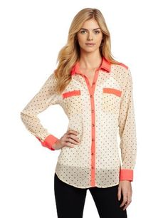 Democracy Women's Polka Dot Print Tie Front Top with Contrast Trim, Beige, Small Democracy,http://www.amazon.com/dp/B009QV19JU/ref=cm_sw_r_pi_dp_w-4jrb0677JD9P3F