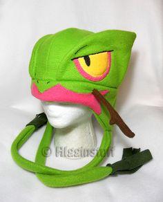 Pokemon Inspired Sceptile Fleece Hat MADE TO ORDER by Higginstuff