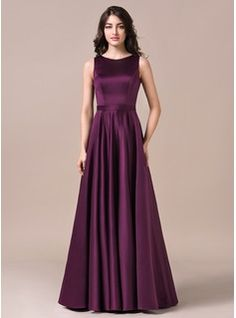 6dcbf8d89ef8 A-Line/Princess Scoop Neck Floor-Length Satin Bridesmaid Dress (007057728). Eggplant  Bridesmaid DressesBridesmaid ...