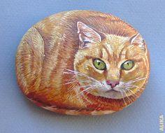 cat-painted rock