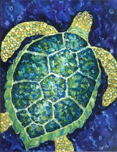Green Sea Turtle Giclee - Coastal Wall Decor