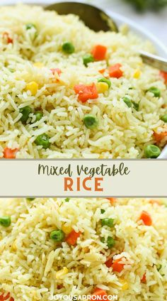 Mixed Vegetable Rice - quick, healthy and easy side dish for dinner grea for busy weeknights. Seasoned rice flavored with chicken bouillon, combined with frozen mixed vegetables. Great for meal prep and kid friendly! Side Dishes For Salmon, Dinner Side Dishes, Potato Side Dishes, Side Dishes Easy, Side Dish Recipes, Dishes Recipes, Rice Dishes, Seasoned Rice Recipes, Rice Recipes Vegan