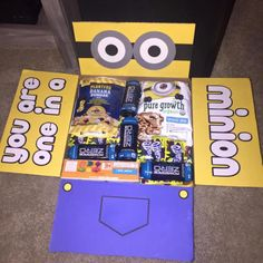 "Despicable Me/Minions ""You're One In A Minion"" care package with contents list and where to find items!  www.deliveringduringdeployment.com"