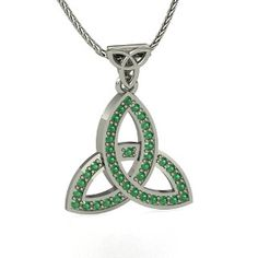 double trinity pendant in emerald. The trinity is the celtic symbol for past, present, and future.