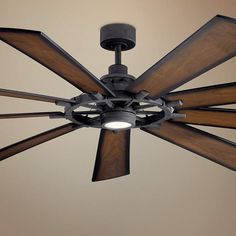 This rustic LED ceiling fan delivers casual style and energy-efficient lighting for your home. Style # at Lamps Plus. Large Ceiling Fans, Star Ceiling, Led Ceiling, Black Ceiling, Outdoor Ceiling Fans, Modern Ceiling, Ceiling Ideas, Ceiling Decor, Ceiling Design