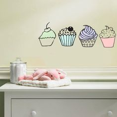 cupcakes - wall decals and acrylic paint