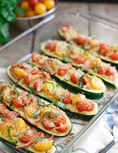 Bruschetta Hummus Stuffed Zucchini