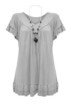 Price: [price_with_discount] Womens Plus Size Frill Necklace Gypsy Tunic V Neck Top US Short Frill Sleeve Loose Baggy Blouse with Frill Bottom TrimThe item includes a FREE Necklac… Plus Size Party Dresses, Plus Size Outfits, Plus Size Shirts, Plus Size Tops, Molliges Model, Plus Size Fashion Tips, Red Tunic, Plus Size Kleidung, Vogue