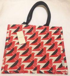 Orla Kiely Red Bird Tote Bag Jute Gift White Reuse Eco Sturdy Multi Use Tesco UK #OrlaKiely
