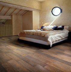 Astonishing Look Like Real Wood Ceramic Tiles Bedroom With Beige Bed And