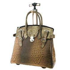 3ee32e360ad Black Brown Alligator Crocodile Rolling Laptop Bag Briefcase Tote Carry All  Bag