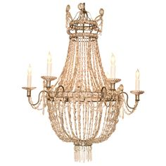 Elegant 19th Century  French Silvered Crystal Chandelier | From a unique collection of antique and modern chandeliers and pendants  at https://www.1stdibs.com/furniture/lighting/chandeliers-pendant-lights/