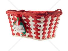 close-up image of a red and white basket. - Detailed image of a red and white wicker basket on plain white background.
