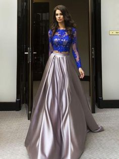 A-line Scoop Floor-length Long Sleeve Elastic Woven Satin Prom Dress/Evening Dress # VB412