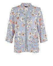 Grey Floral Print Kimono    New Look