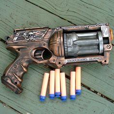Steampunk Gun Nerf Maverick N-Strike Victorian Gothic copper silver