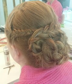 #braids #braidupdo #loose #lowbun #curls #updo #strawberryblonde #bigbraid