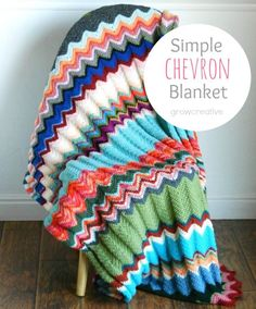 Make a gorgeous chevron throw with your leftover Vanna\'s Choice! Free Crochet Ripple Chevron Blanket Pattern by Elise Engh: Grow Creative Crochet Afghans, Easy Crochet Blanket, Crochet Ripple, Crochet For Beginners Blanket, Manta Crochet, All Free Crochet, Diy Crochet, Crochet Crafts, Single Crochet